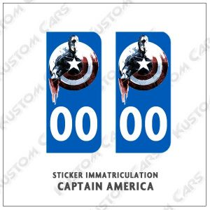 sticker plaque immatriculation captain america