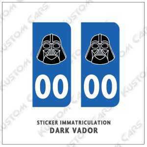 stickers dark vador plaque immatriculation