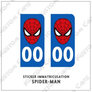 sticker plaque immatriculation spiderman tête
