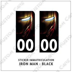 sticker iron man plaques immatriculation