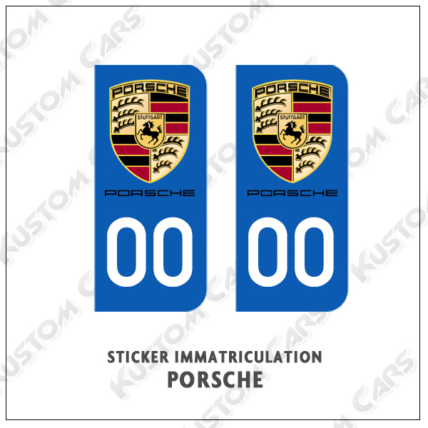 logo porsche plaque immatriculation kustom cars. Black Bedroom Furniture Sets. Home Design Ideas