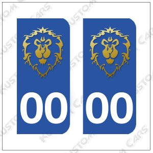 Sticker autocollant plaque immatriculation Warcraft Alliance