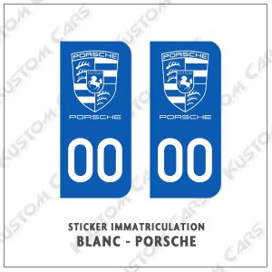 sticker plaque immatriculation porsche