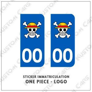 One Piece sticker plaque immatriculation
