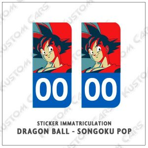 sticker songoku plaque immatriculation