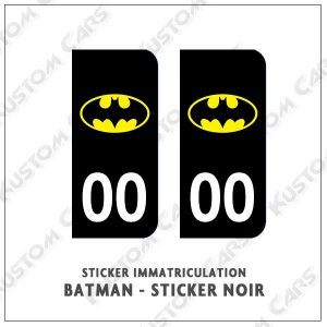 Sticker autocollant plaque immatriculation Batman Black