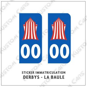 sticker plaque immatriculation derby derbys la baule
