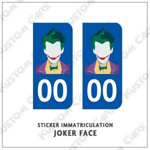 Sticker autocollant plaque immatriculation Joker