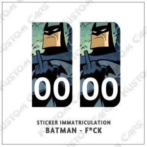 Sticker autocollant plaque immatriculation Batman fuck