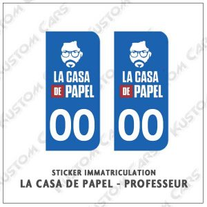 Sticker autocollant plaque immatriculation la case de papel