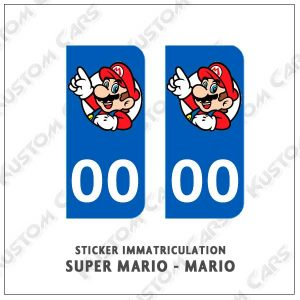 sticker plaque immatriculation super mario