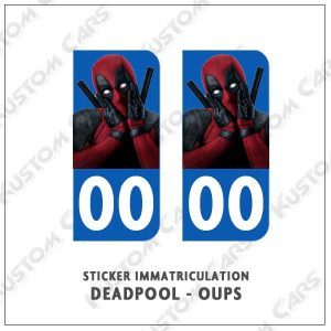 sticker autocollant plaque immatriculation deadpool