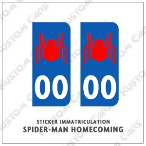 sticker plaque immatriculation spiderman homecoming