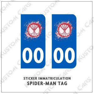 sticker plaque immatriculation spiderman TAG