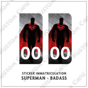 sticker plaque immatriculation superman badass