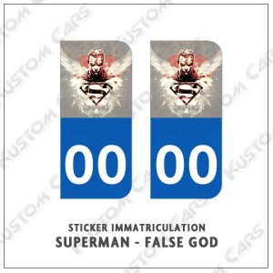 sticker plaque immatriculation superman false god