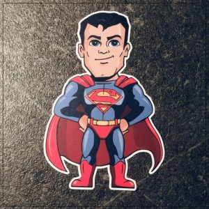 sticker superman chibi voiture bébé à bord